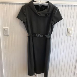 Gray Dress with Button Detail